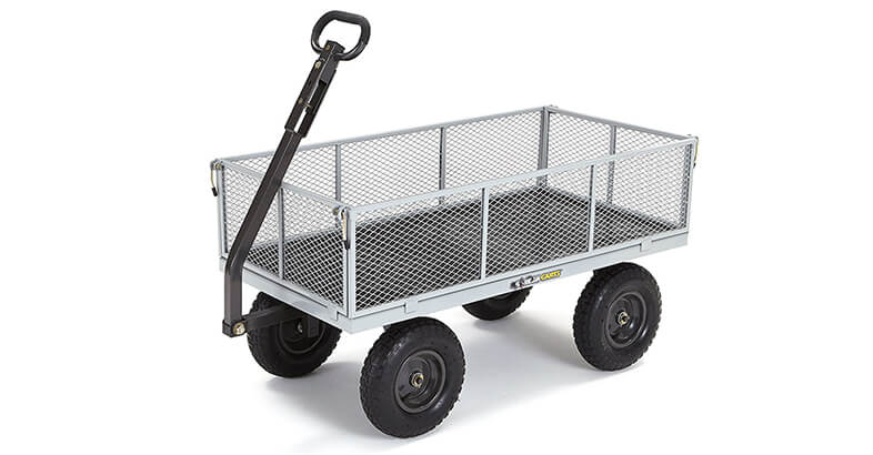 Gorilla Carts GOR1001 COM Heavy Duty Steel Utility Cart With Removable Sides, 1000 Lbs. Capacity, Gray