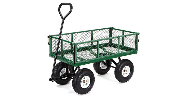 Gorilla Carts GOR400 COM Steel Garden Cart With Removable Sides, 400 Lbs. Capacity, Green