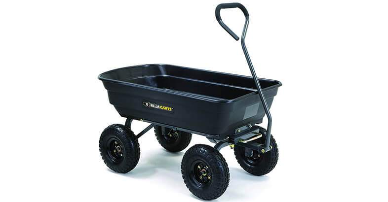 Gorilla Carts GOR4PS Poly Garden Dump Cart With Steel Frame And 10 In. Pneumatic Tires, 600 Pound Capacity, Black