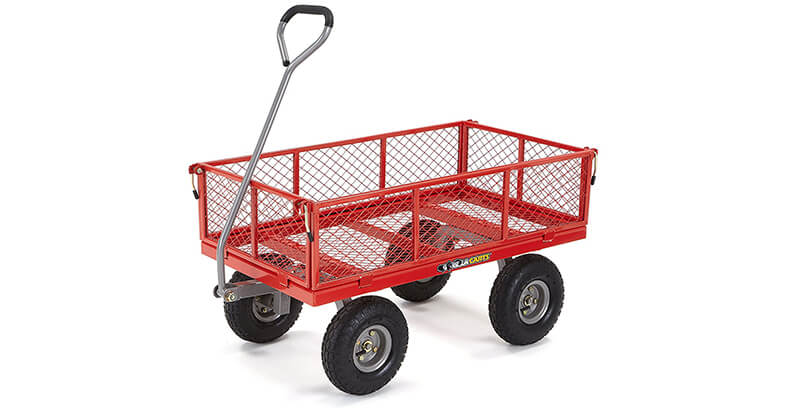 Gorilla Carts GOR800 COM Steel Utility Cart With Removable Sides, 800 Lbs. Capacity, Red